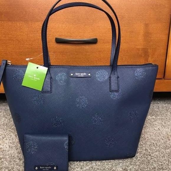 Kate spade blue polka dot purse